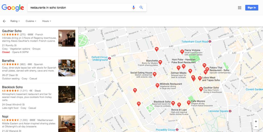 restaurants in soho london