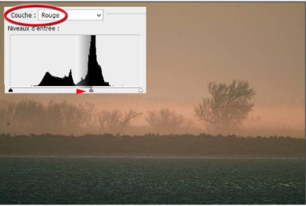 Histogram contrast red layer