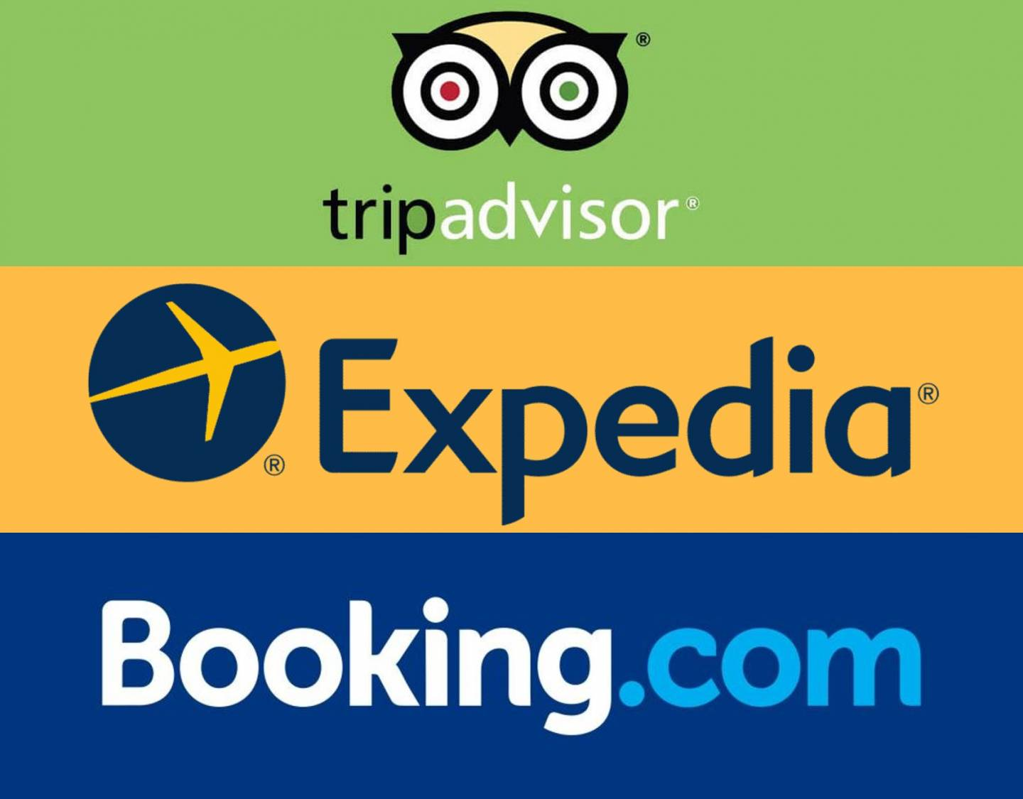 Trip advisor, Expedia and Booking.com Logos