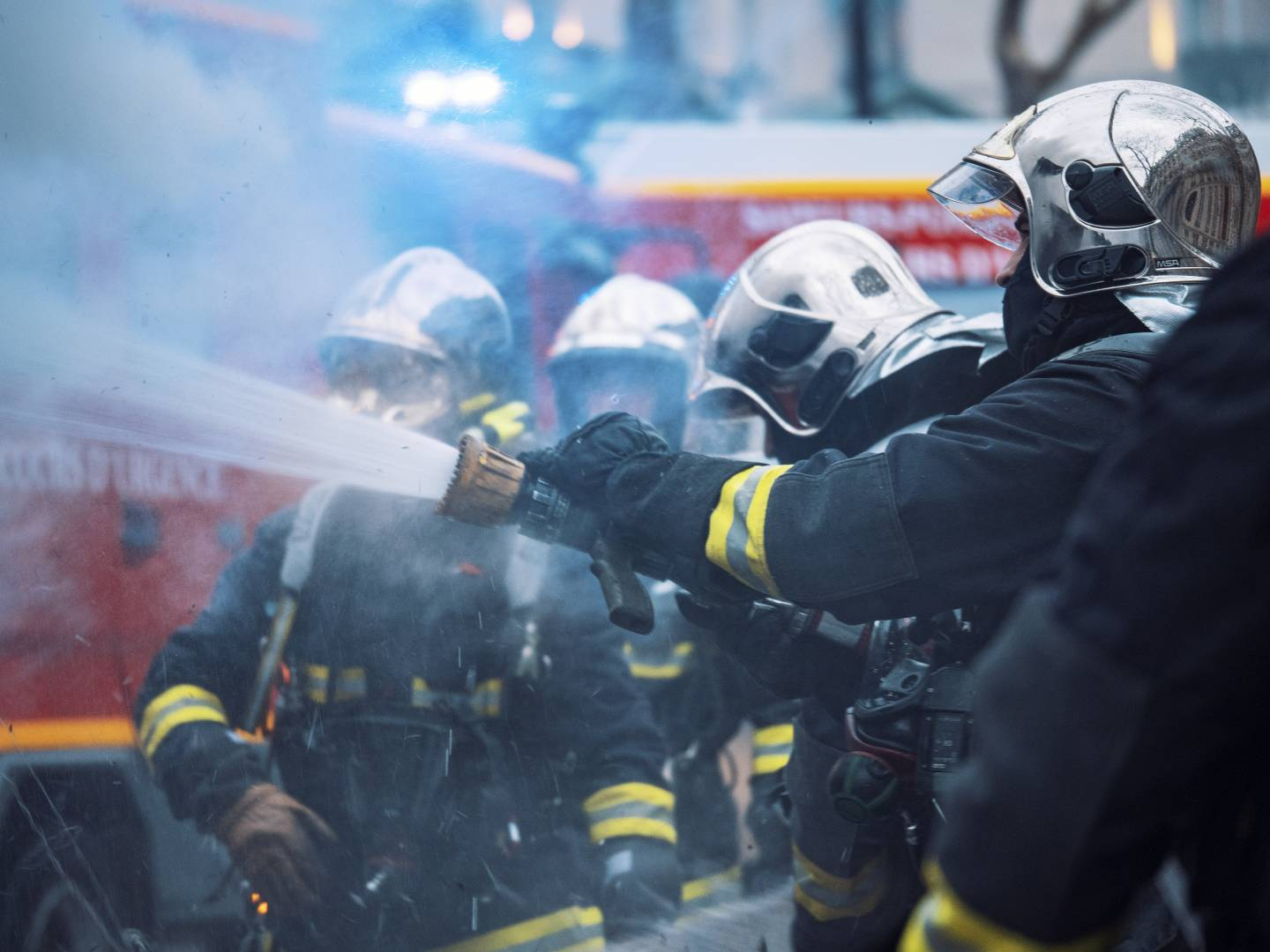 Firemen during the Gilet Jaunes protests, Paris, photo by Vincent N. Van