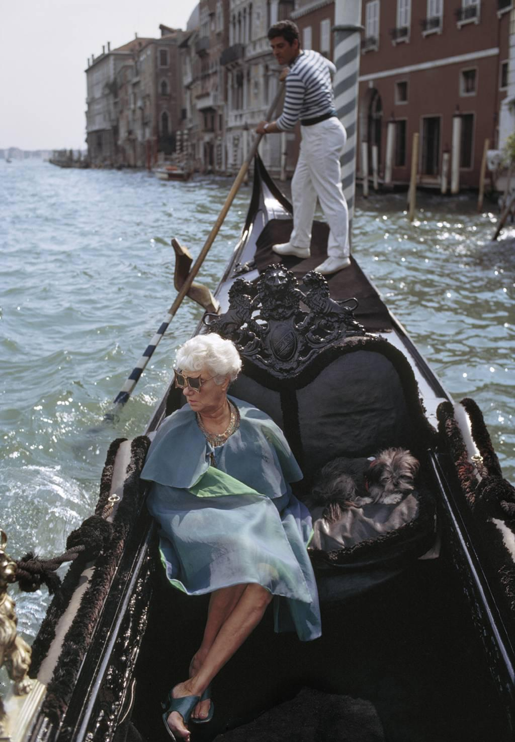 photo of Peggy Guggenheim in a gondola,  Venice, Italy, 1968