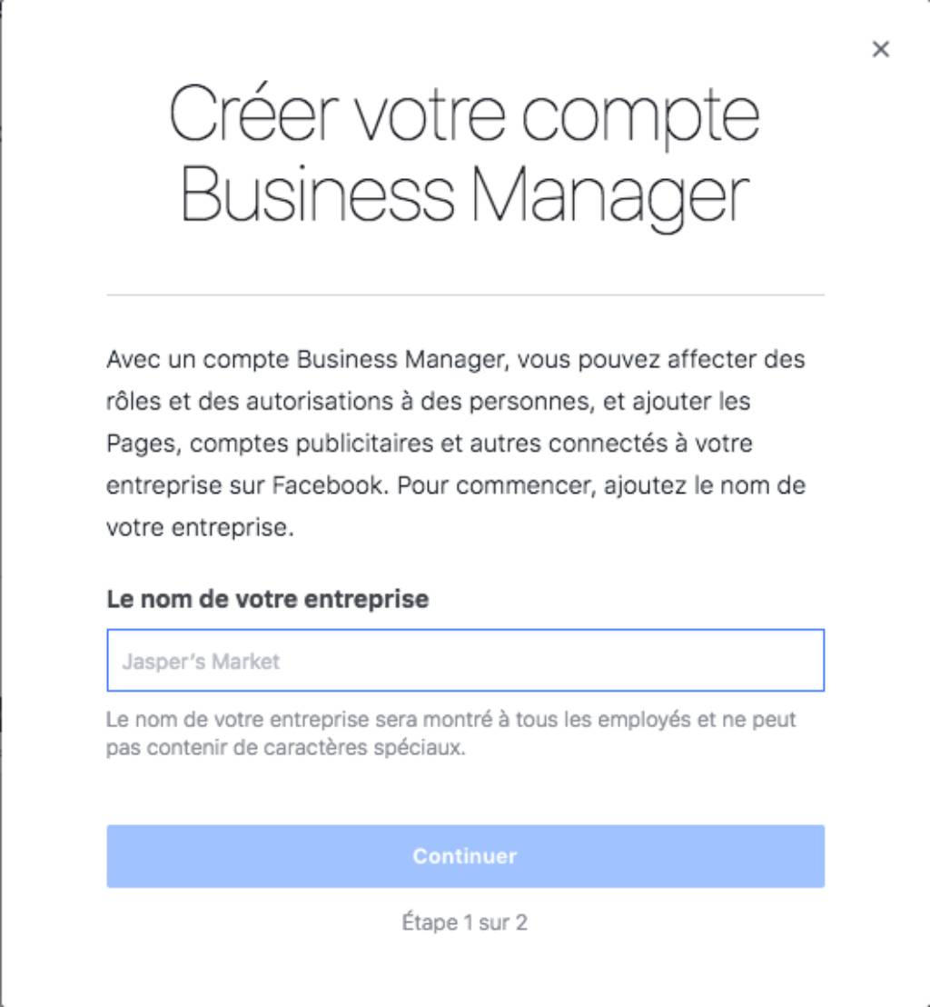 Inscription Facebook Business Manager