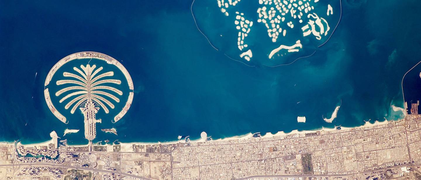Artificial Archipelagos, Dubai, the United Arab Emirates as seen from space