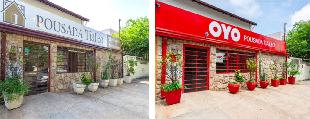 Before and After renovation OYO Brazil
