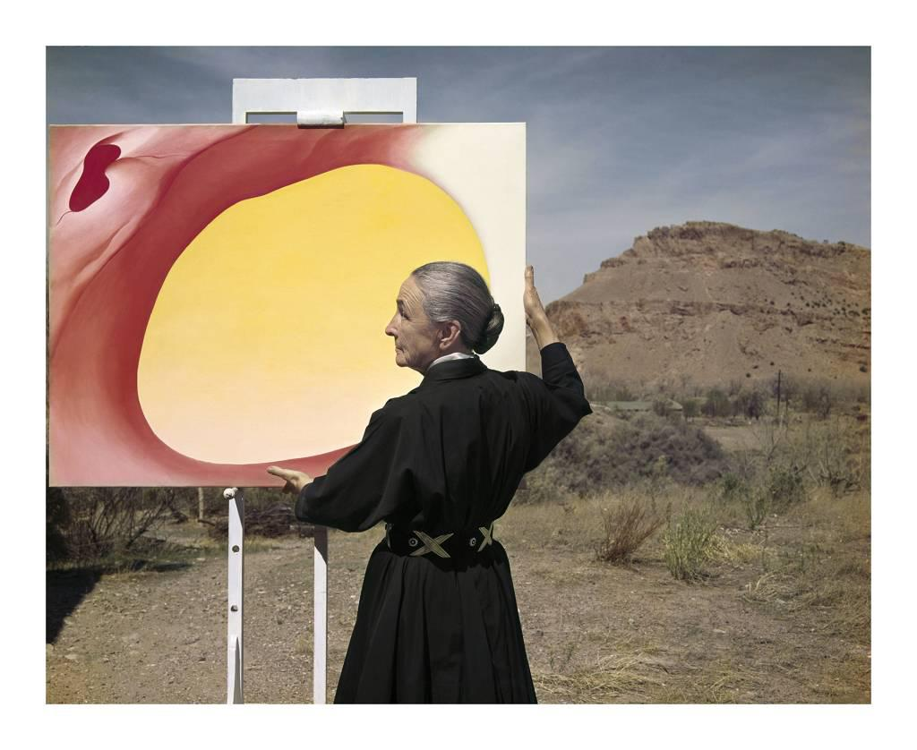 "photo of Georgia O'Keeffe with ""Pelvis"" series painting, New Mexico, 196"