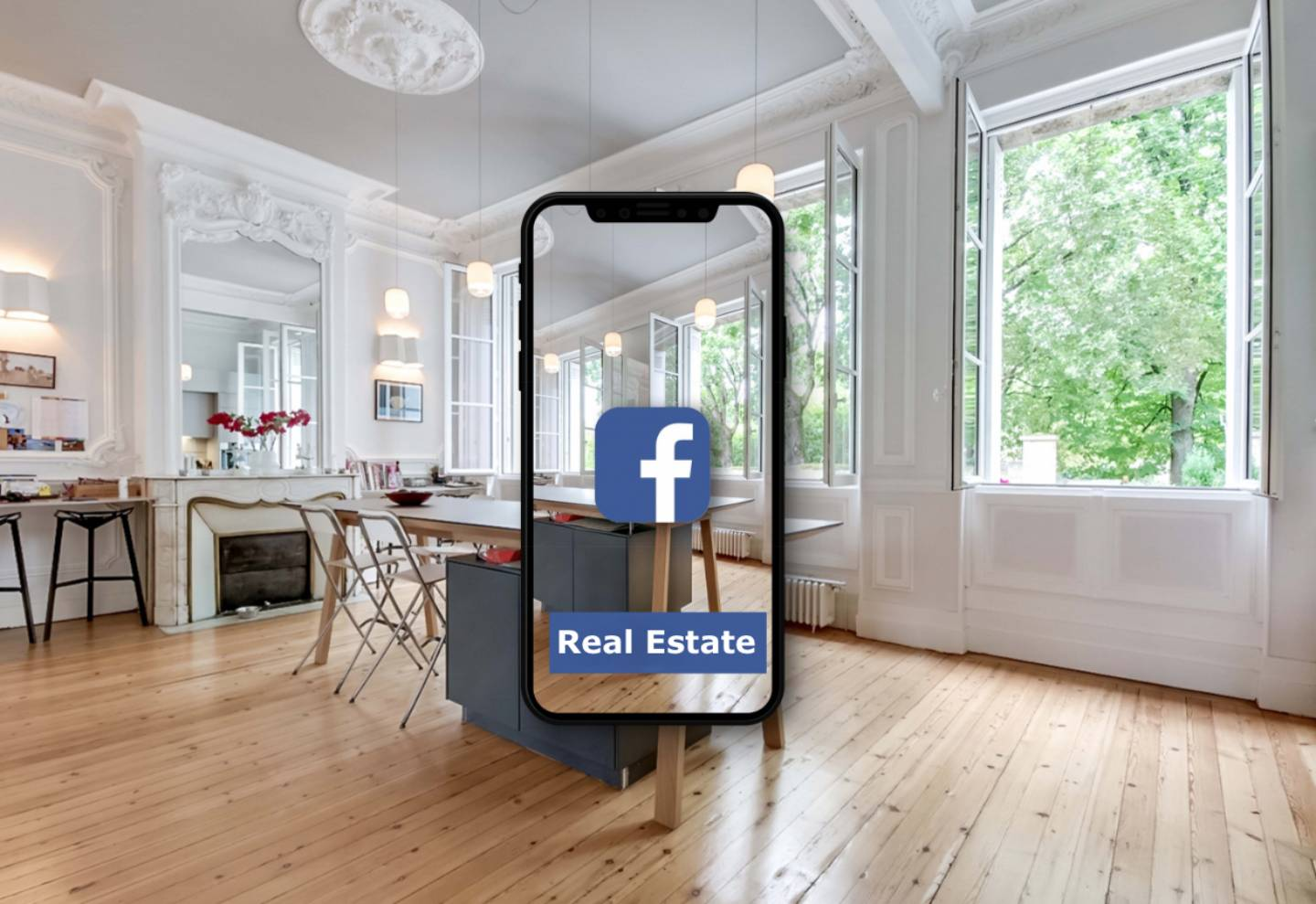 Apartment with Smartphone Facebook App