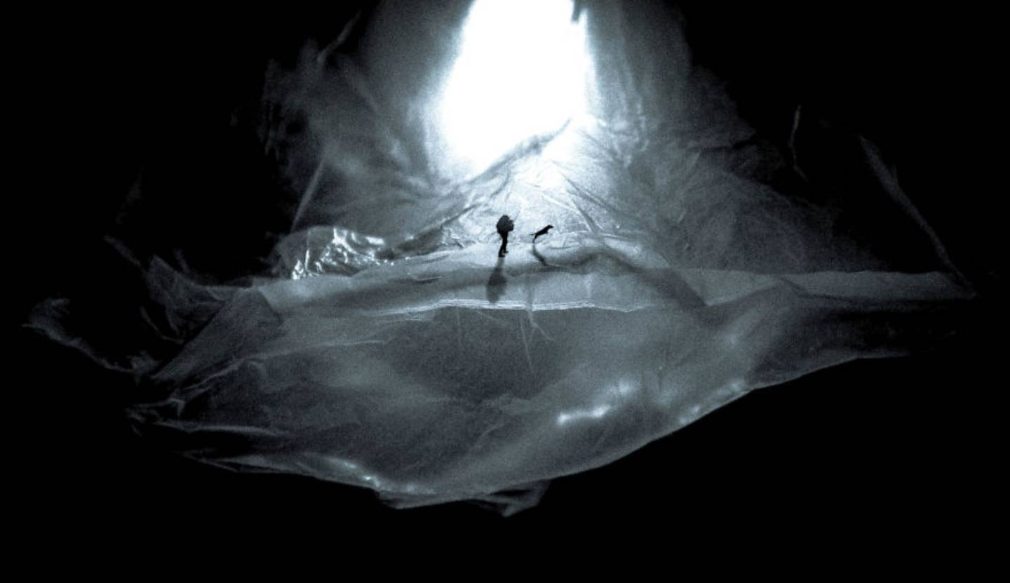 Photo of a mountainous landscape made of plastic bags