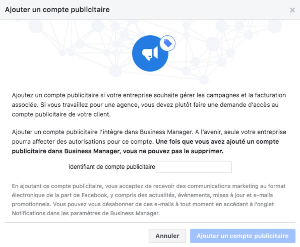 Ajouter page Facebook Business Manager