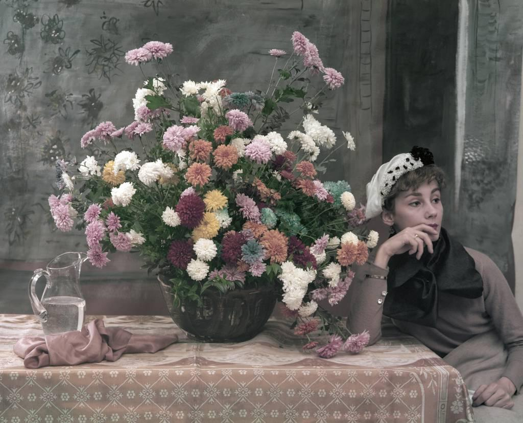 Photo of Woman and Flowers like a Degas painting