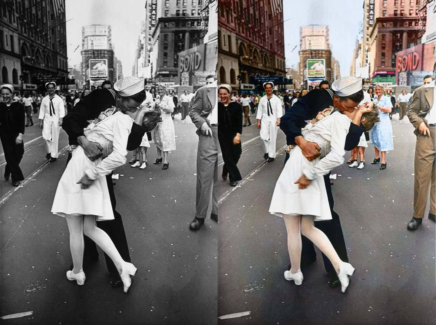 Famous Couple kissing in Times Square by Alfred Eisenstaedt, 1945.