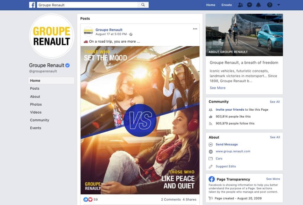 Groupe Renault Facebook Page