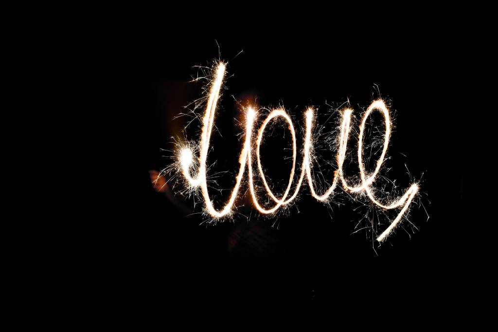 love written with a sparkler